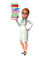 Young Doctor with books pile