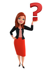 Young Corporate lady with question mark