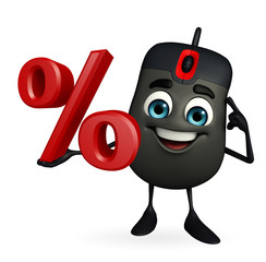 Computer Mouse Character with percent sign