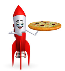 Rocket character with pizza