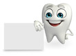 Teeth character with sign