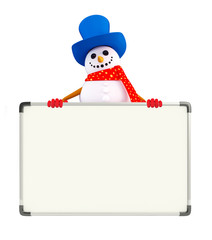Snowman character with display board
