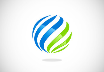 circle sphere globe communication vector logo