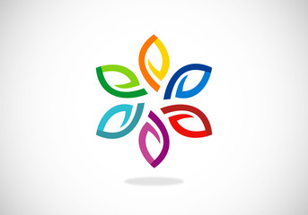 leaf colorful circle abstract vector logo