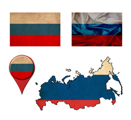 russia flag, map and map pointers