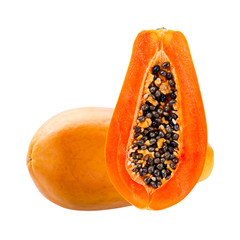 papaya isolated on white