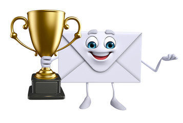 Mail Character with trophy