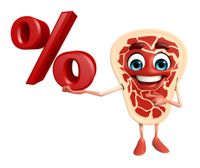 Meat steak character with Percentage