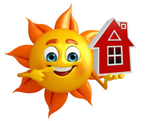Sun Character With home