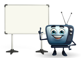 TV character with display board