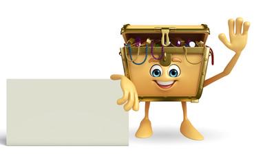 Treasure box character with sign