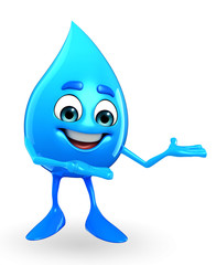 Water Drop Character is presenting
