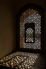 Window in Humayun Tomb in Delhi India