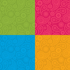 Seamless Paisley Pattern with four color options
