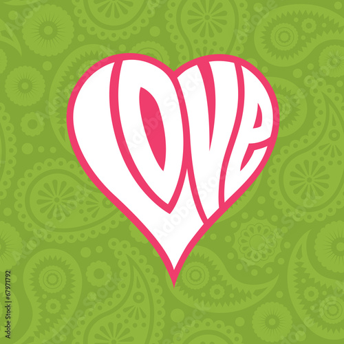 In de dag Kunstmatig Love heart on seamless paisley background