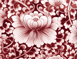 Ceramic surface background with flowers.