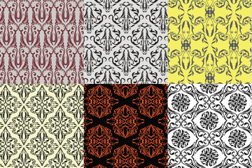 six set desing vintage seamless pattern
