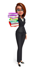 Young Business Woman with books pile