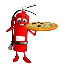 Fire Extinguisher character with pizza