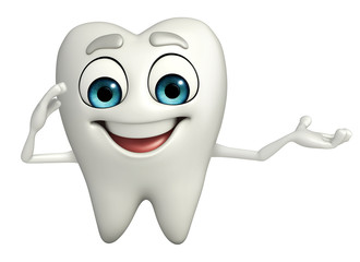 Teeth character with salute pose