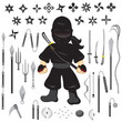 Illustration of character ninja and weapon, cartoon vector