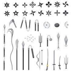Illustration of ninja stars, ninja and weapon, cartoon vector