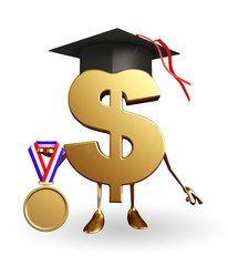 Dollar Character with Graduate HAt and gold medal