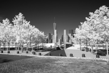 Infrared image of the Lower Manhattan and 911 Memorial