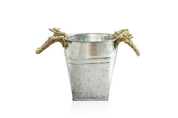 Small metal Zinc pot bucket isolated on white Clipping Path