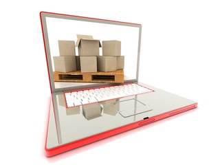 Cardboard boxes on a laptop. concept of e-commerce.