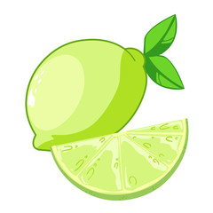 lemon with slice isolated illustration