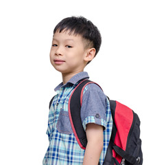 Asian lboy with school bag isolated on white background