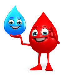 Blood Drop Character with water drop