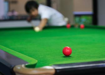 snooker balls on green snooker table