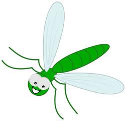 green dragonfly in flight