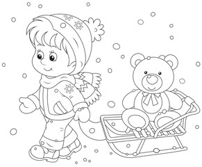 Child walking with her sledge and toy bear