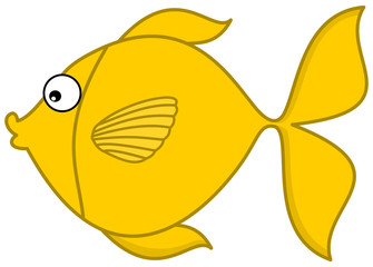 a yellow fish's profile