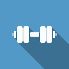 dumbbell icon with long shadow
