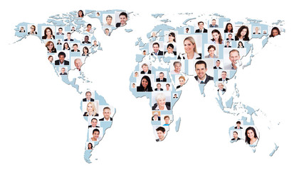 Multiethnic Business People On World Map