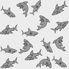 pattern for wrapping paper and filled with sharks