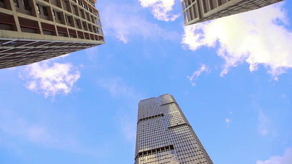 HD -  Looking up of modern skyscrapers.