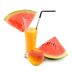 juice in glass, watermelon and peach