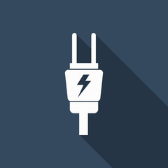 electric plug icon with long shadow