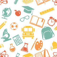 Vector Seamless  Back to School Pattern