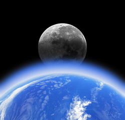 Earth, Moon and dark starless background.