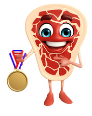 Meat steak character with gold medal