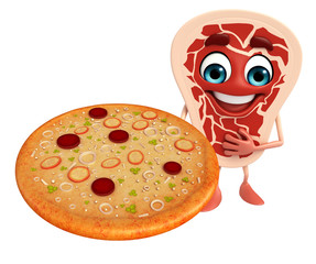 Meat steak character with pizza