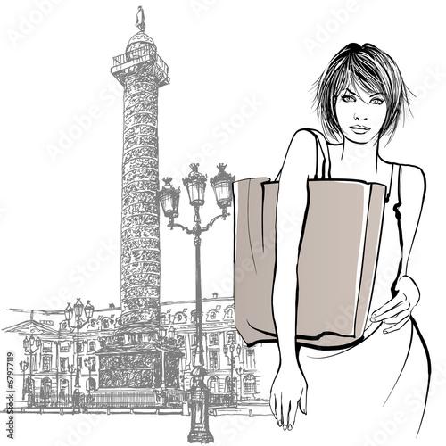 Young woman shopping in Paris