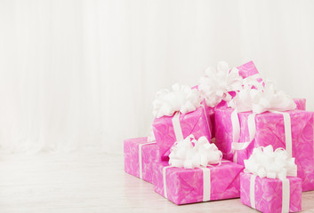 presents gift boxes, birthday in pink color for woman