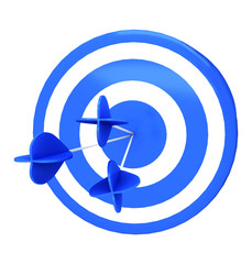 Blue darts target aim and arrow